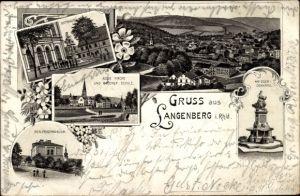 Litho Langenberg Velbert Nordrhein Westfalen, Rathaus, Realprogymnasium, Brucher Schule, Kirche