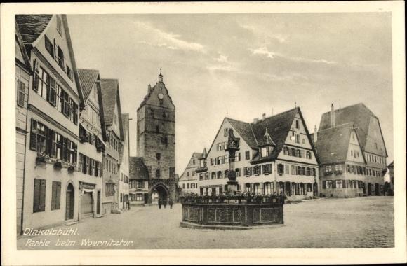 Ak Dinkelsbühl in Mittelfranken, Partie beim Wörnitztor, Denkmal