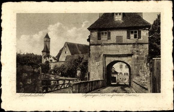 Ak Dinkelsbühl in Mittelfranken, Springer Tor und grüner Turm