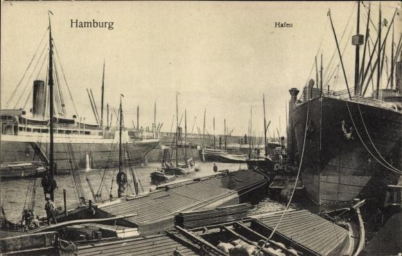 Ak Hamburg, Hafen, Schiffe, Dampfer