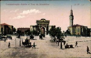 Ak Konstantinopel Istanbul Türkei, Entrée et Tour du Séraskiérat