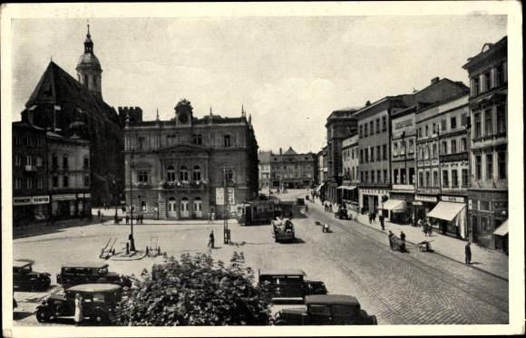 Ak Opava Troppau Reg. Mährisch Schlesien, Oberring, Theater, Pfarrkirche