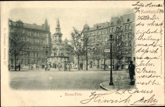 Ak Hamburg Mitte St. Georg, Hansaplatz, Brunnen, Haltestelle
