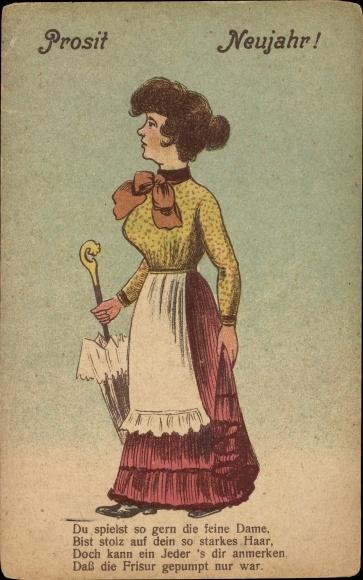 Ak Glückwunsch Neujahr, Dame mit Kleid und Schirm, Frisur nur gepumpt