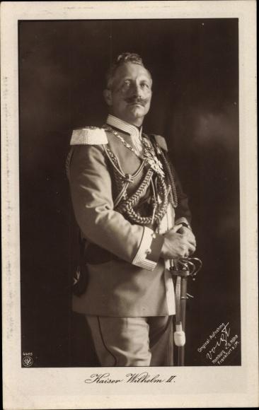 Ak Kaiser Wilhelm II., Uniform, Orden, Schulterschnüre, Säbel, NPG 4489