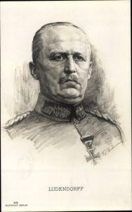 Künstler Ak General Erich Friedrich Wilhelm Ludendorff, Portrait, RPH 29