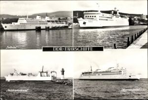 Ak DDR Fährschiffe, Saßnitz, Rügen, Stubbenkammer, Warnemünde