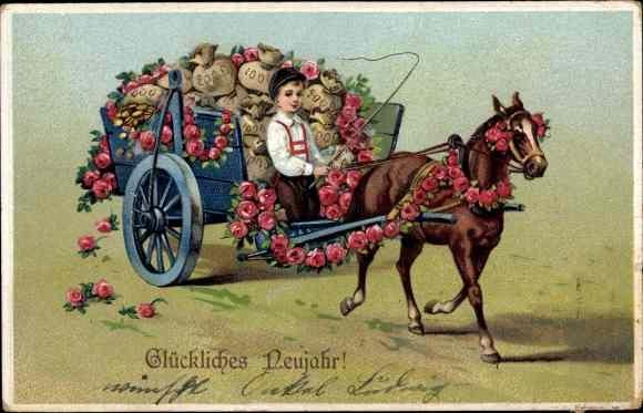 Präge Ak Glückwunsch Neujahr, Fuhrwerk, Pferd, Geldsäcke, Blumen