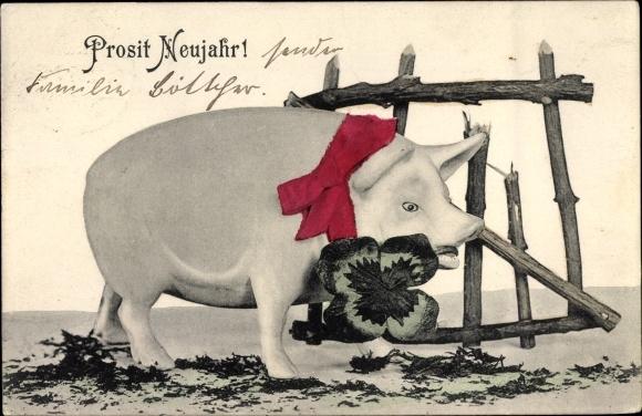 Ak Glückwunsch Neujahr, Schwein, Kleeblatt