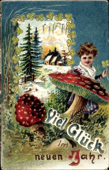Ak Glückwunsch Neujahr, Fliegenpilz, Kleeblätter