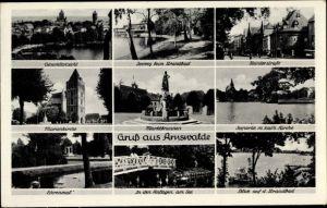 Ak Choszczno Arnswalde Ostbrandenburg, Steintorstraße, Marienkirche, Marktbrunnen