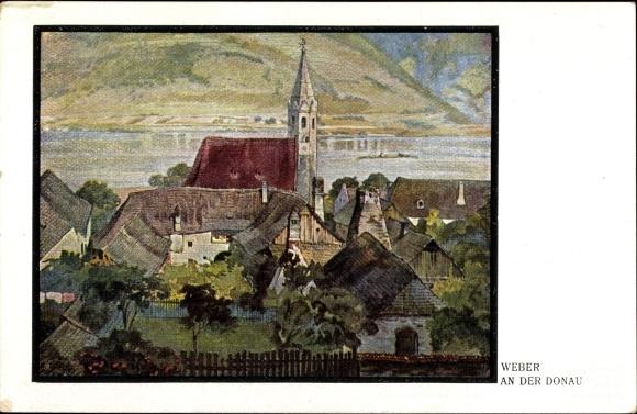 Künstler Ak Weber, An der Donau, Blick auf eine Ortschaft mit Kirche