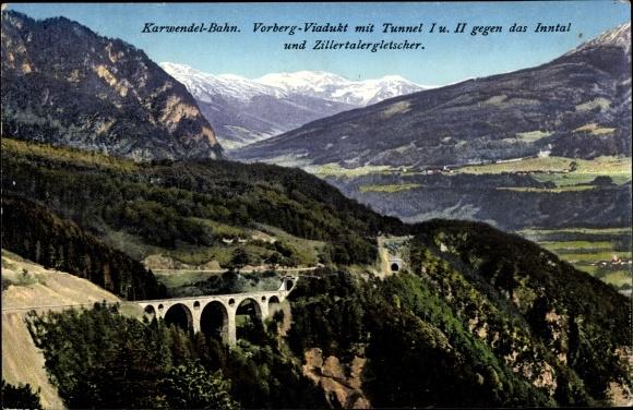 Ak Karwendelbahn, Vorbergviadukt mit Tunnel I und II gegen das Inntal und Zillertalergletscher