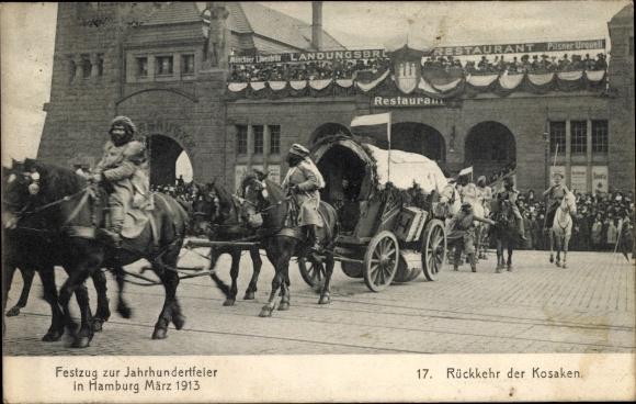Ak Hamburg, Festzug zur Jahrhundertfeier 1913, Rückkehr der Kosaken, Landungsbrückenrestaurant
