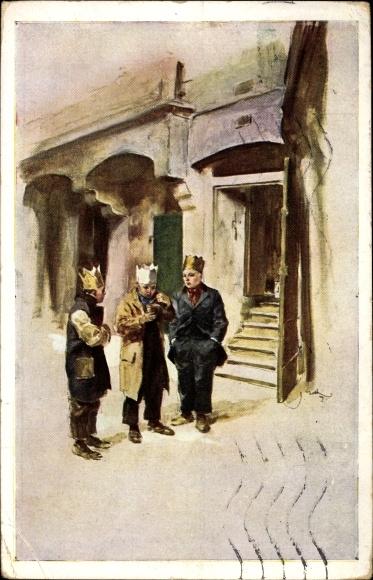 Künstler Ak Drei Jungen mit Kronen vor einem Haus, Sternensinger