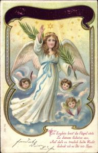 Litho Glückwunsch Weihnachten, Engel mit Palmenzweig, Sterne