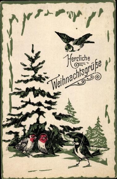 Winter Präge Litho Glückwunsch Weihnachten, Schneebedeckter Tannenbaum, Vögel