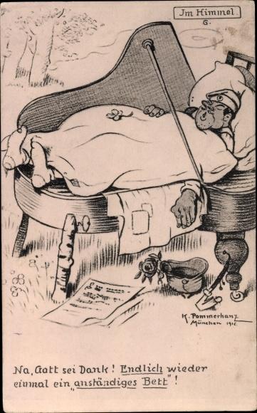 Künstler Ak Pommerhanz, K., Im Himmel, Soldat schläft auf einem Flügel