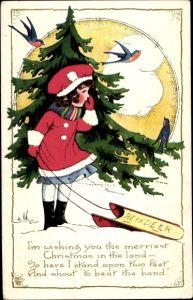 Präge Ak Glückwunsch Weihnachten, Mädchen mit Schlitten, Tannenbaum, Vögel