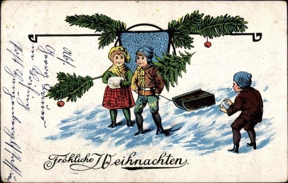Präge Litho Glückwunsch Weihnachten, Junge und Mädchen mit Schlitten und Tannenbaum