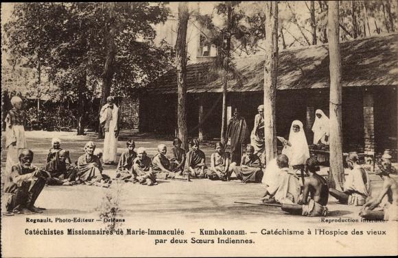 Ak Kumbakonam Indien, Catéchisme à l'Hospice des vieux par deux Soeurs Indiennes