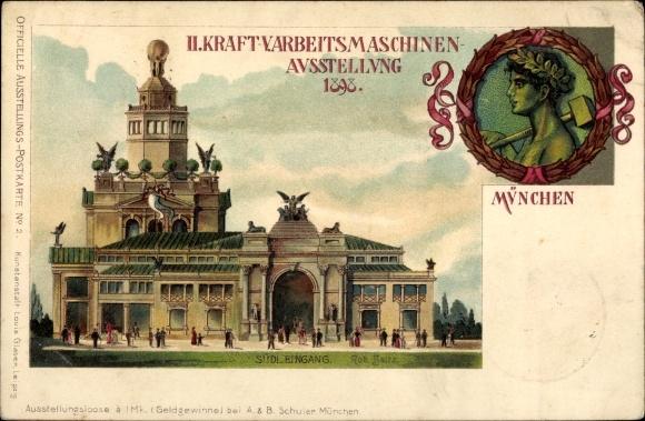 Litho München, II. Kraft- und Arbeitsmaschinen Ausstellung 1898, Südeingang
