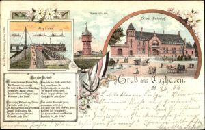 Litho Cuxhaven in Niedersachsen, Wasserturm, Alte Liebe, Bahnhof