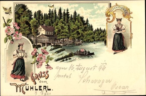 Litho Cheb Eger Reg. Karlsbad, Gruß vom Mühlerl, Waldrestauration