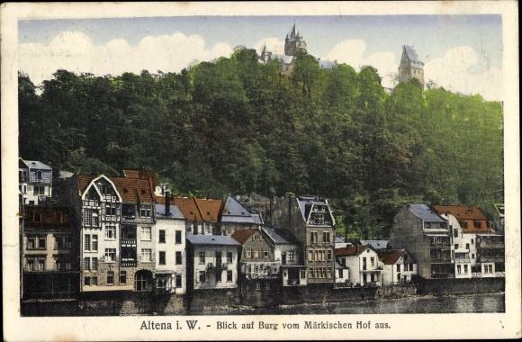 Ak Altena im Märkischen Kreis, Blick auf Burg vom Märkischen Hof aus