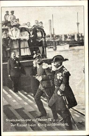 Ak Kaiser Wilhelm II., König von Dänemark, Staatsoberhäupter auf Reisen