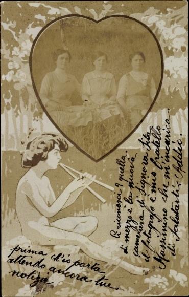 Passepartout Ak Portraits von drei Frauen in einem Herz, Junge mit Doppelflöte