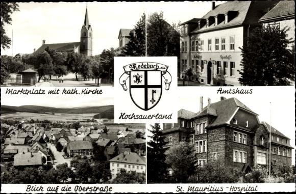 Ak Medebach im Hochsauerlandkreis, Marktplatz, kath. Kirche, Atmshaus, St. Mauritiushospital, Wappen