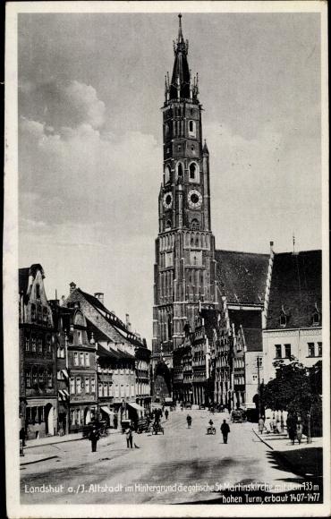 Ak Landshut in Niederbayern, gotische St. Martinskirche, Läden, Häuserfassaden