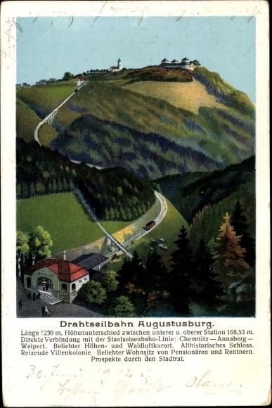 Künstler Ak Augustusburg im Erzgebirge, Drahtseilbahn, Panorama vom Ort