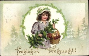 Präge Litho Glückwunsch Weihnachten, Mädchen mit Tannenbaum und Geschenken im Korb