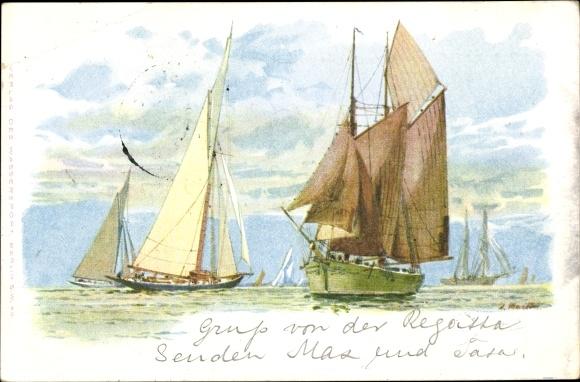 Künstler Ak Segelboote auf dem Wasser, Wolken, Regatta
