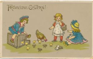 Präge Litho Glückwunsch Ostern, Mädchen sitzt auf einem Käfig Huhn, Küken, Ostereier