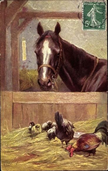 Künstler Ak Pferd mit Zaumzeug im Stall, Hühner mit Küken, BKWI 495 4