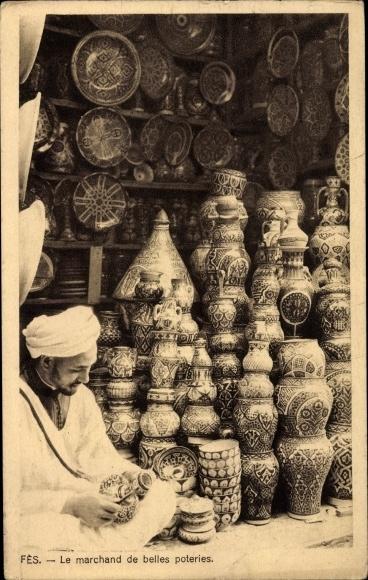 Ak Fès Fez Marokko, Le marchand de belles poteries, Geschirrhändler