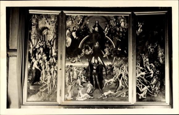 Foto Ak Gdańsk Danzig, St. Marienkirche, Triptychon, Höllensturz, Teufel, Das Jüngste Gericht