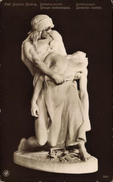Ak Plastik von Stephan Sinding, Barbarenmutter, NPG 1602