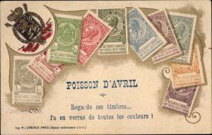 Briefmarken Litho Belgien, Poisson d'Avril