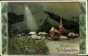 Präge Ak Frohe Weihnachten, Verschneites Dorf, Kirche, Stern