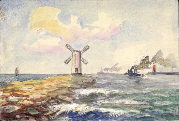Künstler Ak Hafenausfahrt, Leuchtturm, Windmühle, Dampfer
