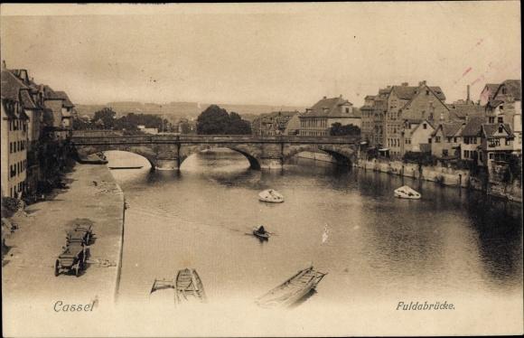 Ak Kassel in Hessen, Fuldapartie mit Brücke