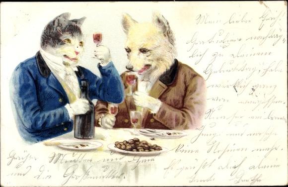 Litho Vermenschlichte Tiere, Katze und Hund trinken Wein