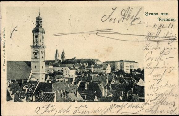 Ak Freising in Oberbayern, Blick über die Dächer der Stadt