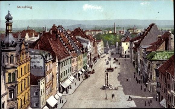 Ak Straubing an der Donau Niederbayern, Straßenpartie, Läden