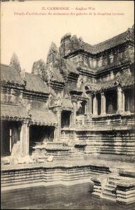 Ak Angkor Wat Kambodscha, Détails d'architecture du croisement des galeries de la deuxième terrasse