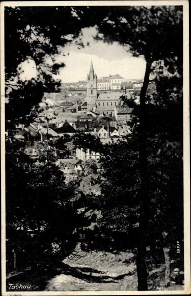 Ak Tachov Tachau Reg. Pilsen, Gesamtansicht, Kirche